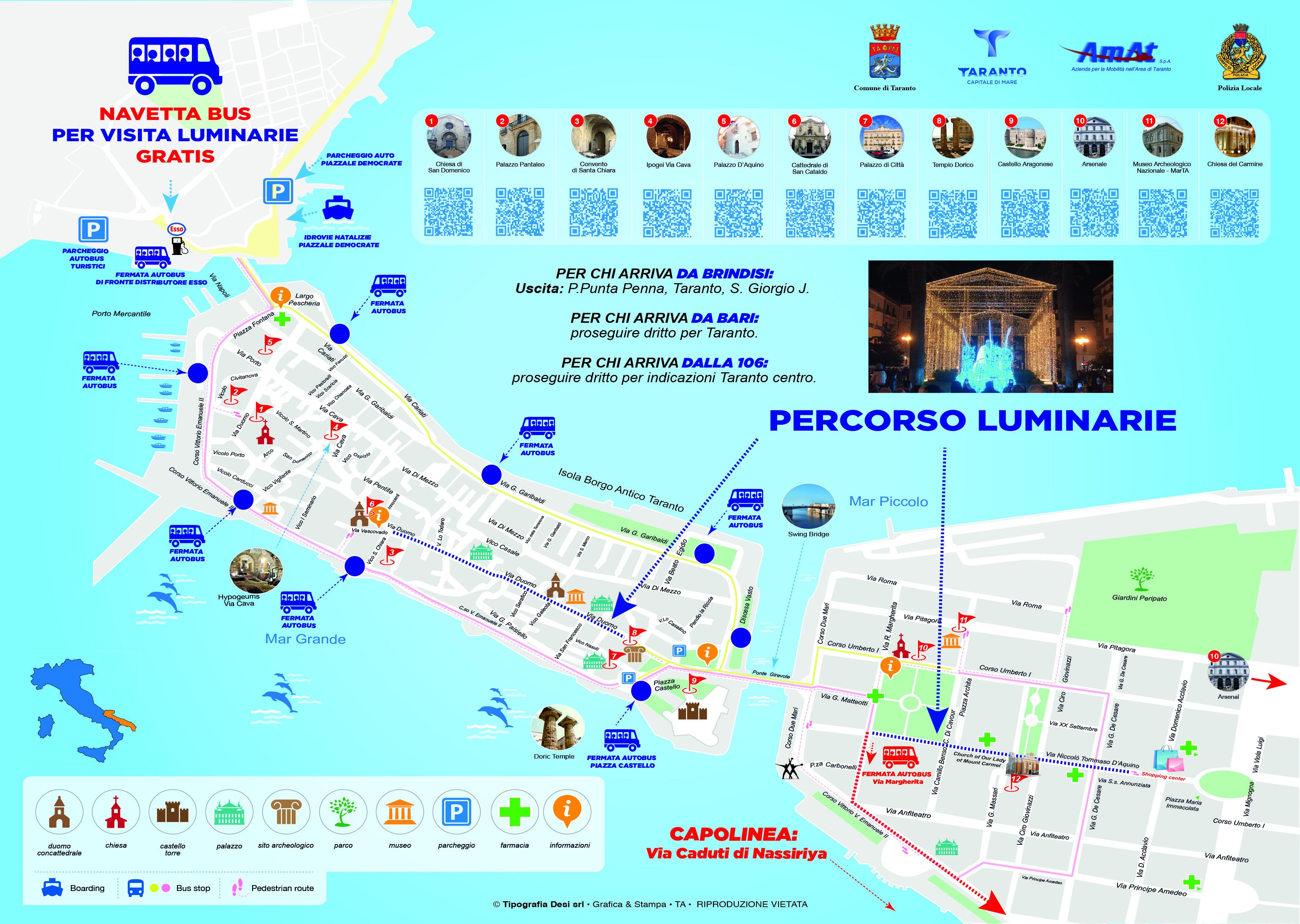 Cartina Strade Puglia.Luminarie D Artista Per Il Natale Nelle Strade Di Taranto Mappa Navette Bus Polizia Locale Taranto